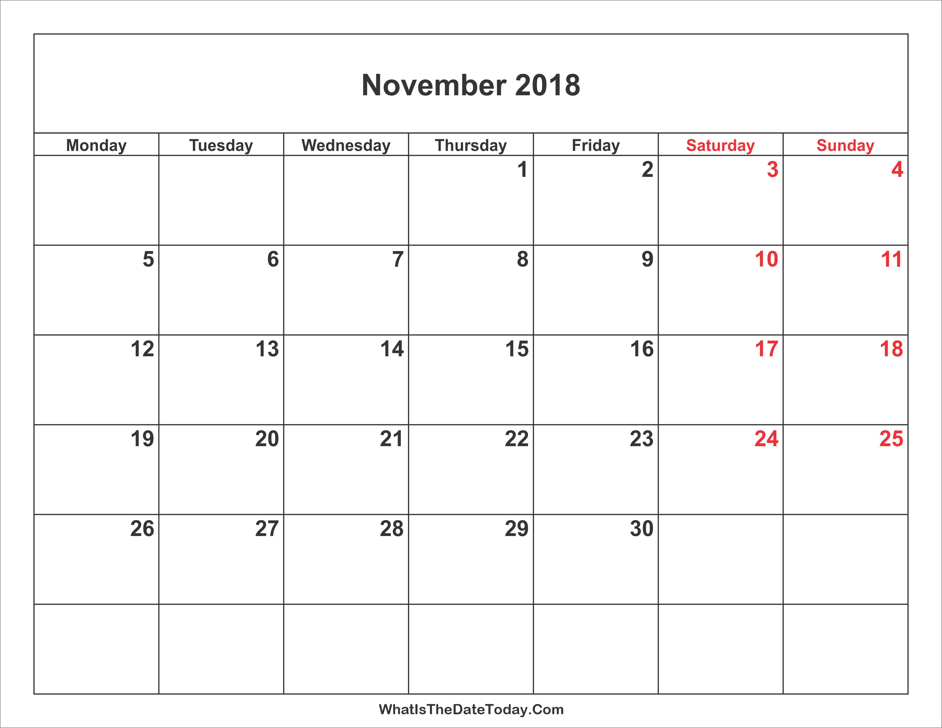Calendar with weekends and holidays in November 2019 30