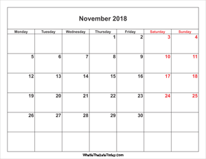 november 2018 calendar with weekend highlight