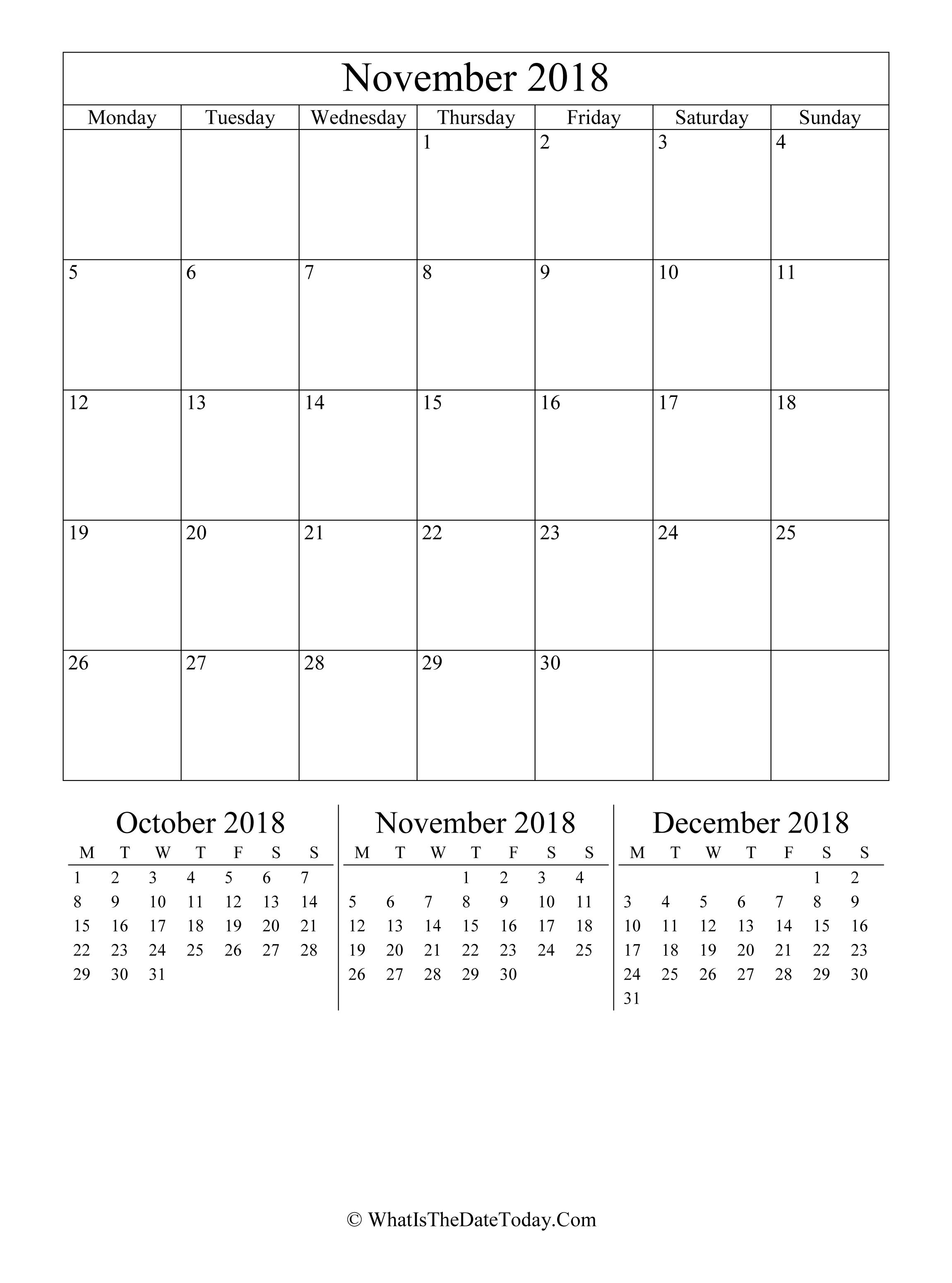 november 2018 editable calendar
