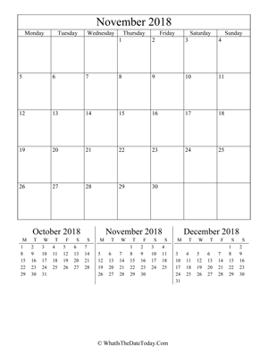 november 2018 editable calendar (vertical) with three mini months