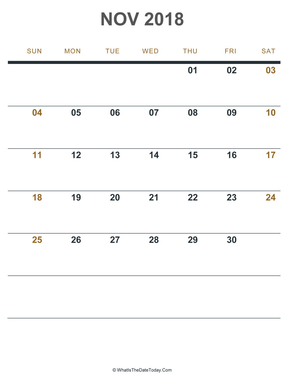 november 2018 printable calendar (portrait layout)