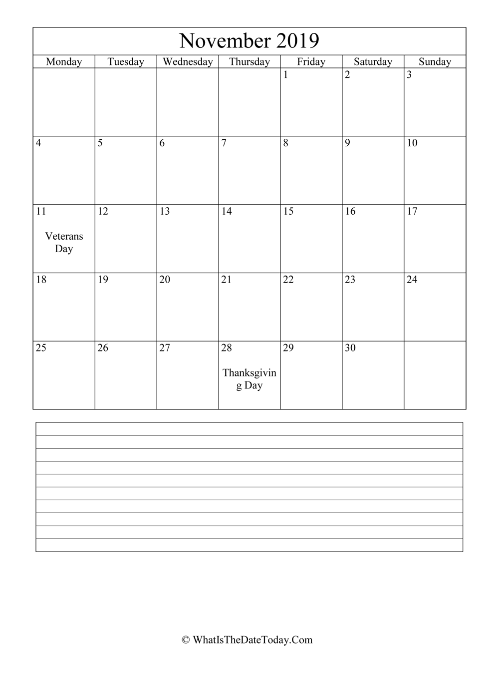 november 2019 calendar editable with notes in vertical layout