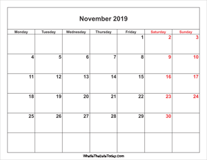 november 2019 calendar with weekend highlight