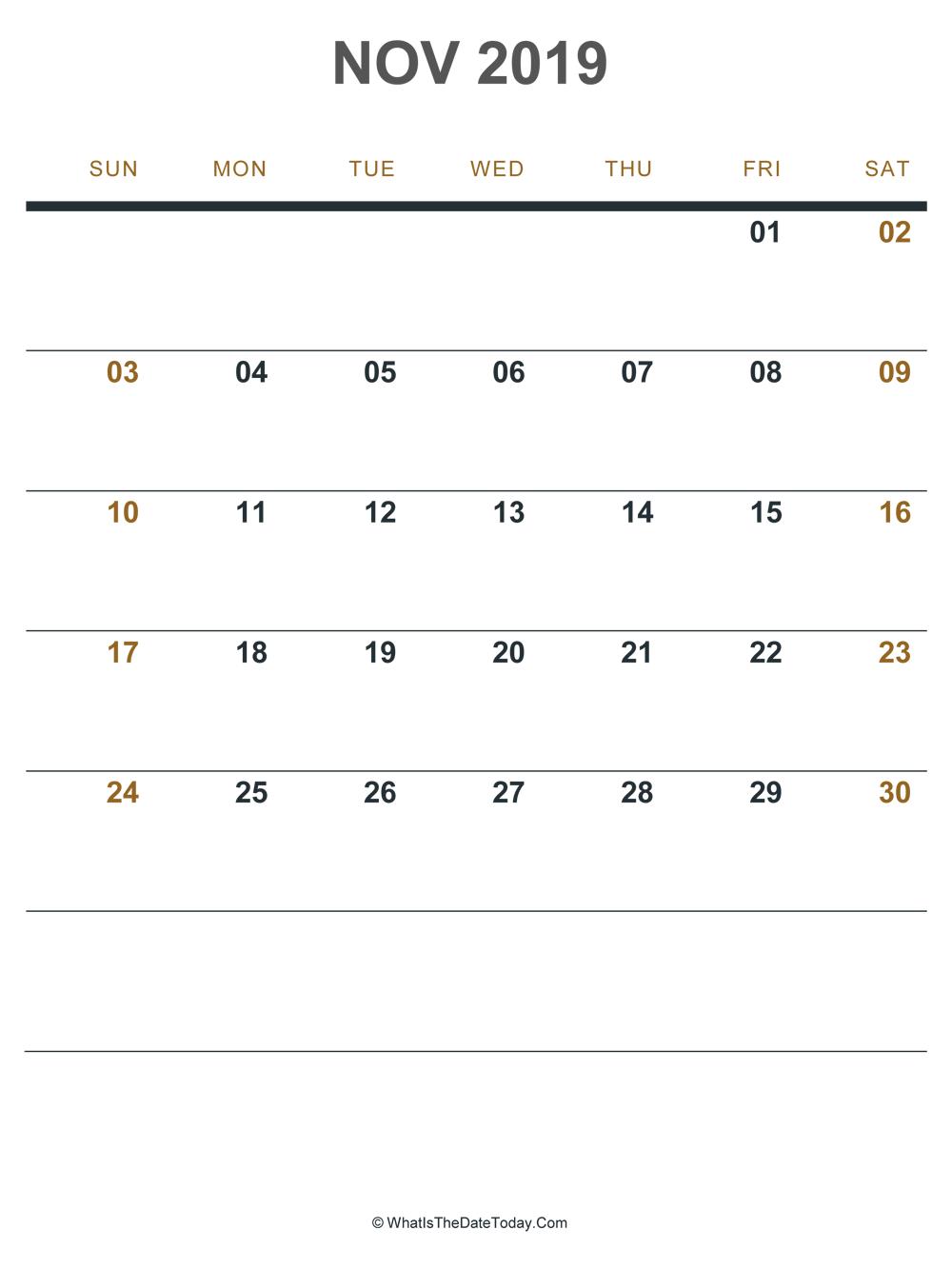 November 2019 Printable Calendar Portrait Layout