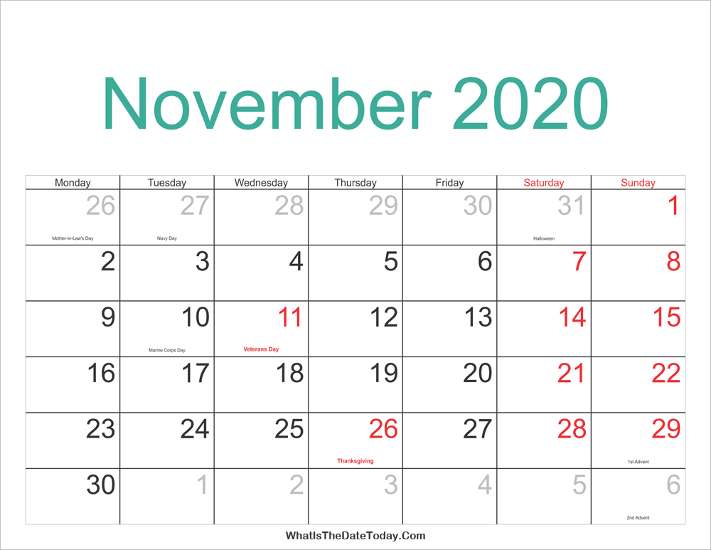 Nov 2020 Calendar With Holidays November 2020 Calendar Printable with Holidays