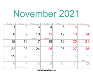 november 2021 calendar printable with holidays