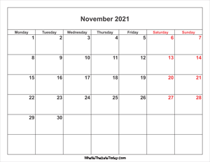november 2021 calendar with weekend highlight