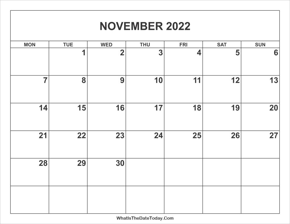 Printable November 2022 Calendar.November 2022 Calendar Whatisthedatetoday Com