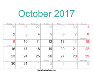 october 2017 calendar printable with holidays
