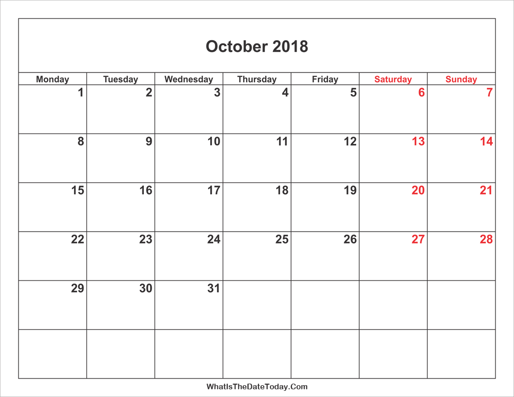 october 2018 Calendar with weekend highlight