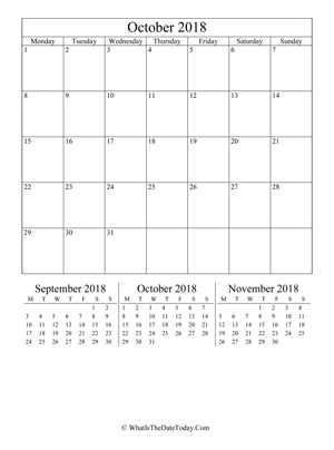 october 2018 editable calendar (vertical) with three mini months