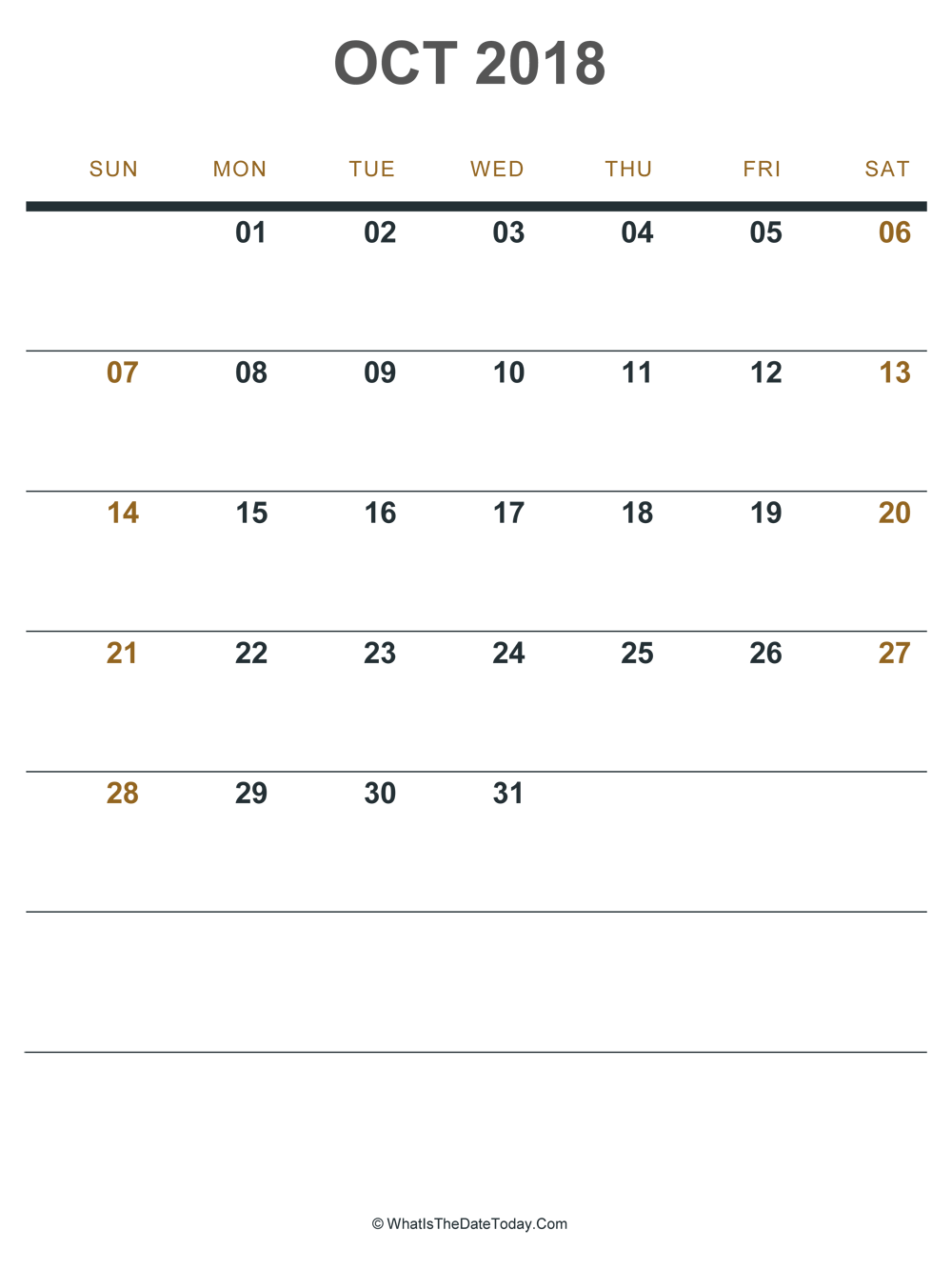 october 2018 printable calendar (portrait layout)
