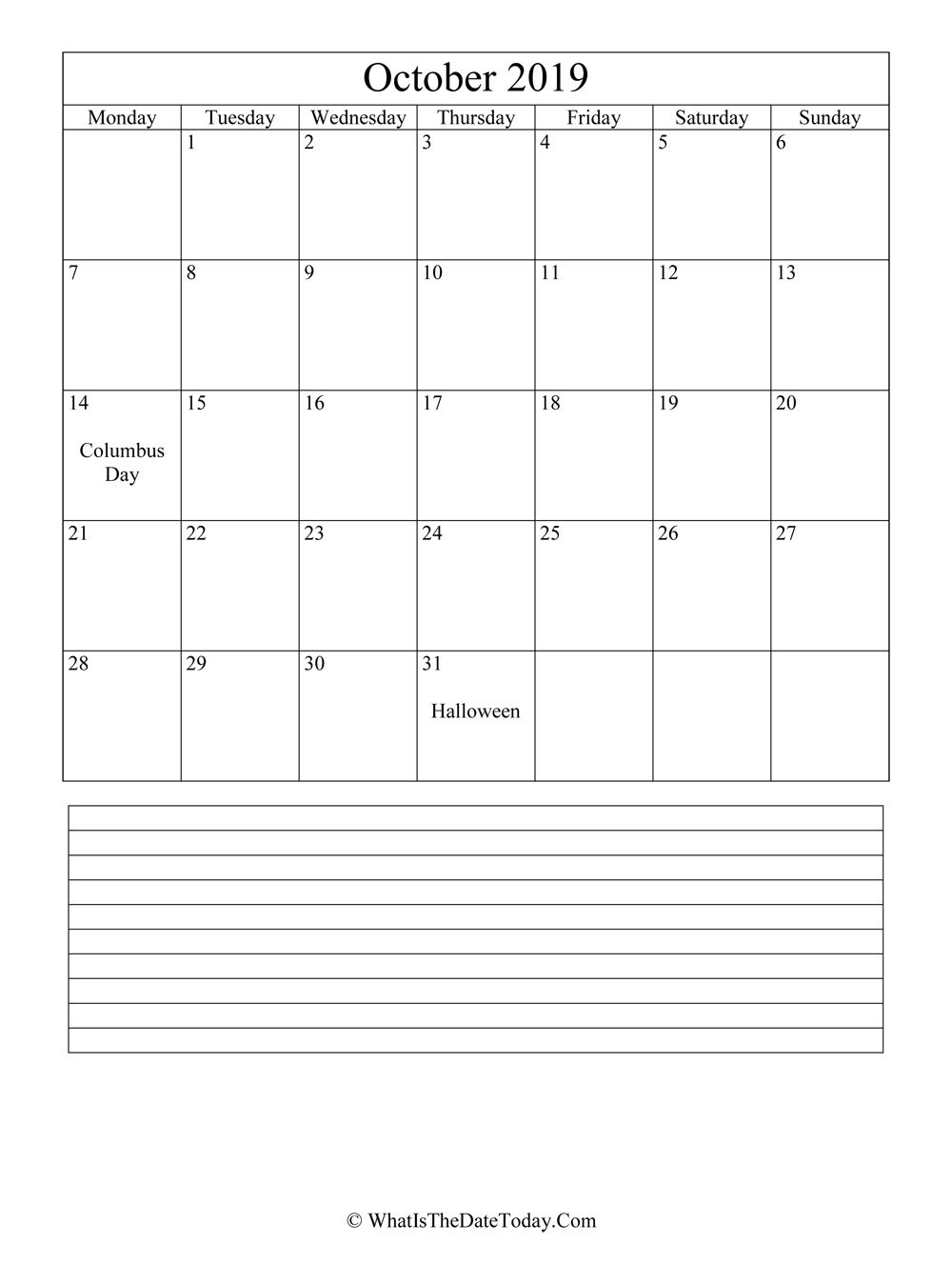 October 2019 Calendar Editable With Notes Space Vertical Layout