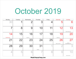 2019 Printable October Calendar With Notes Whatisthedatetoday Com