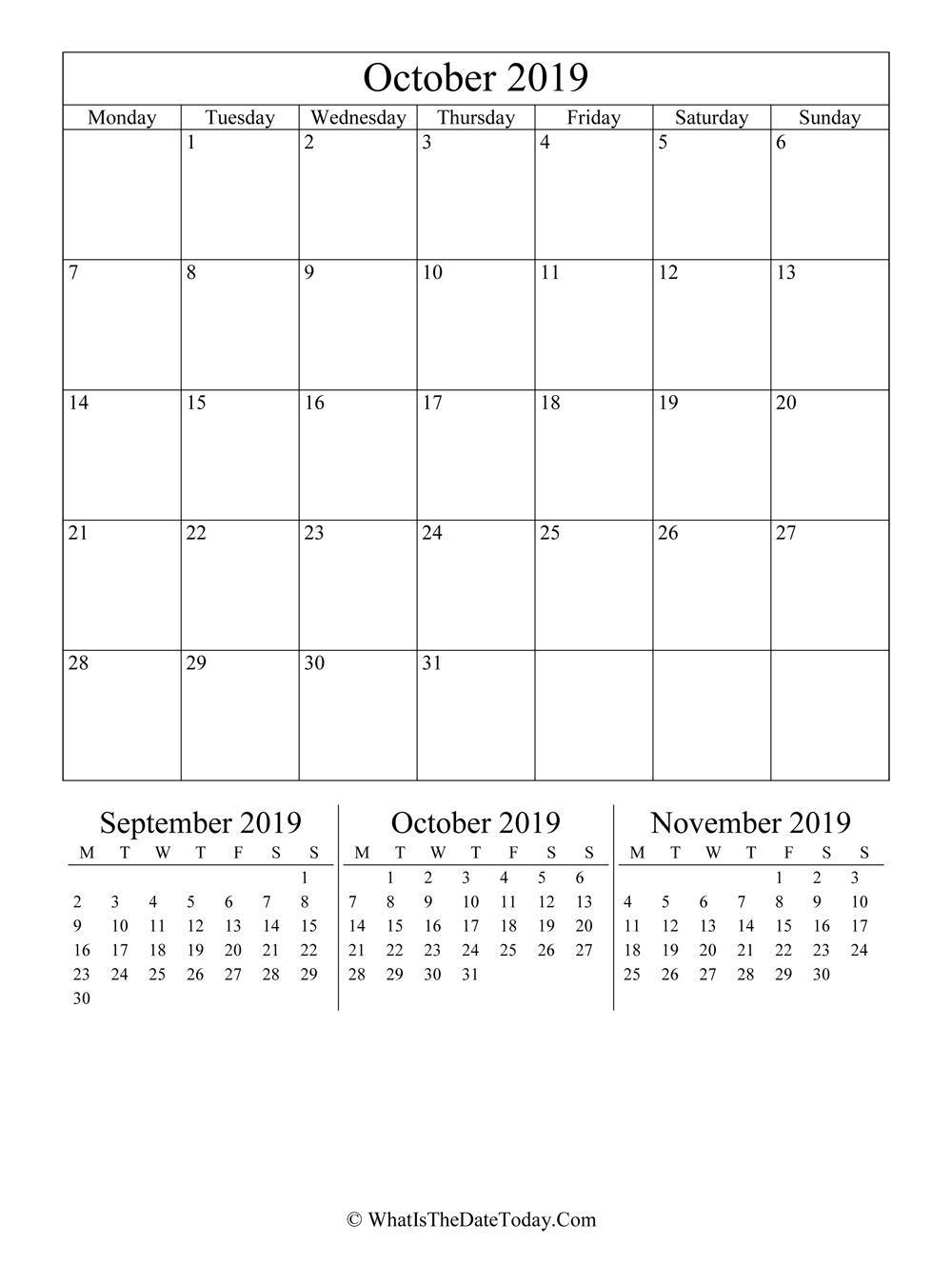 october 2019 editable calendar with three mini calendars in vertical layout