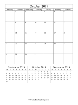 october 2019 editable calendar (vertical) with three mini months