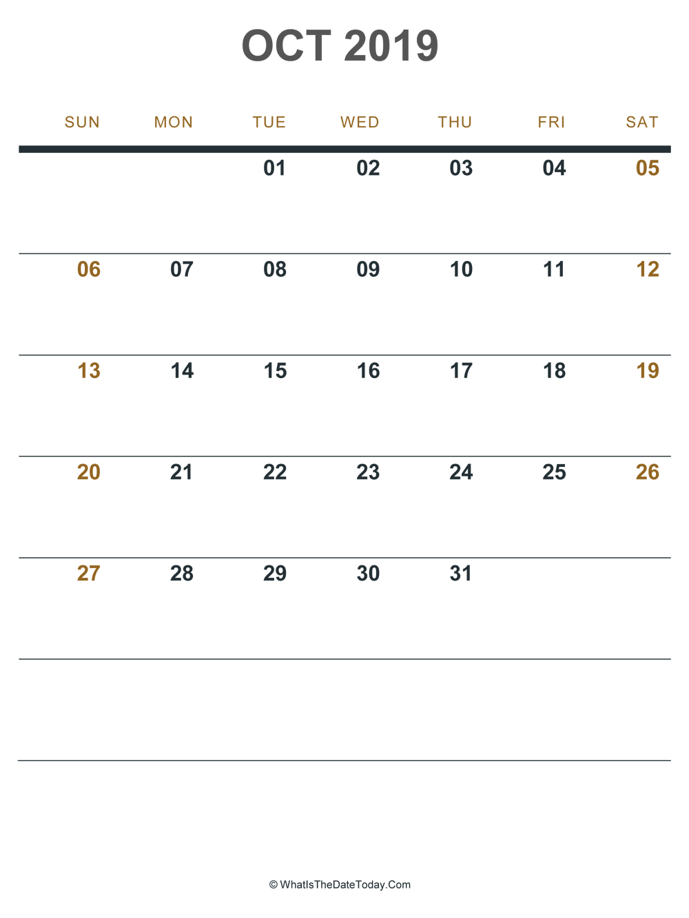 october 2019 printable calendar (portrait layout)