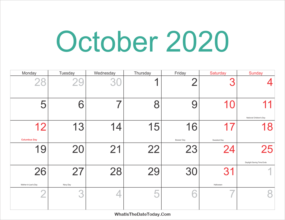 Jewish Calendar October 2020 October 2020 Calendar Printable with Holidays | Whatisthedatetoday.Com