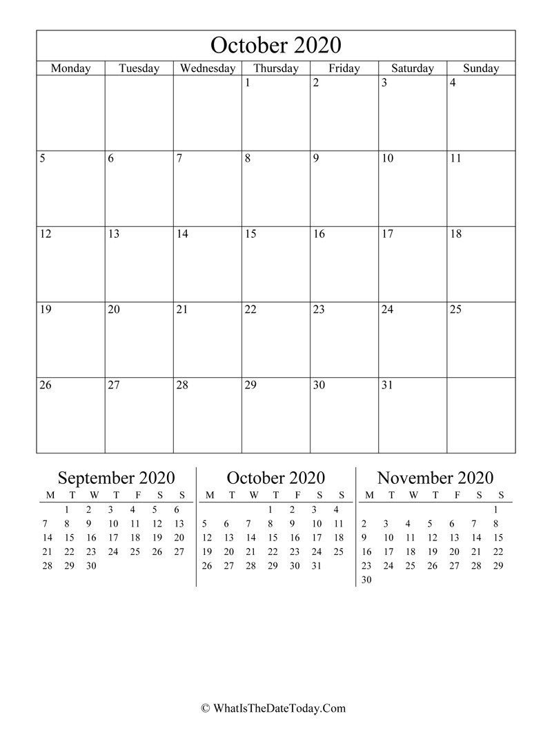 october 2020 editable calendar with three mini calendars in vertical layout