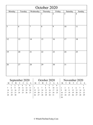october 2020 editable calendar (vertical layout)