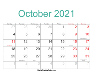 october 2021 calendar printable with holidays