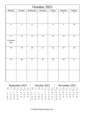october 2021 editable calendar (vertical) with three mini months