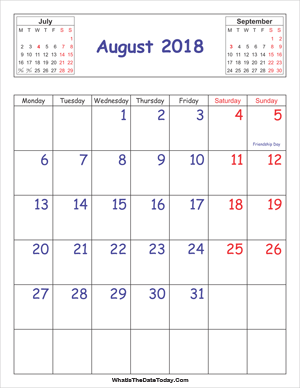 printable 2018 calendar august (vertical)