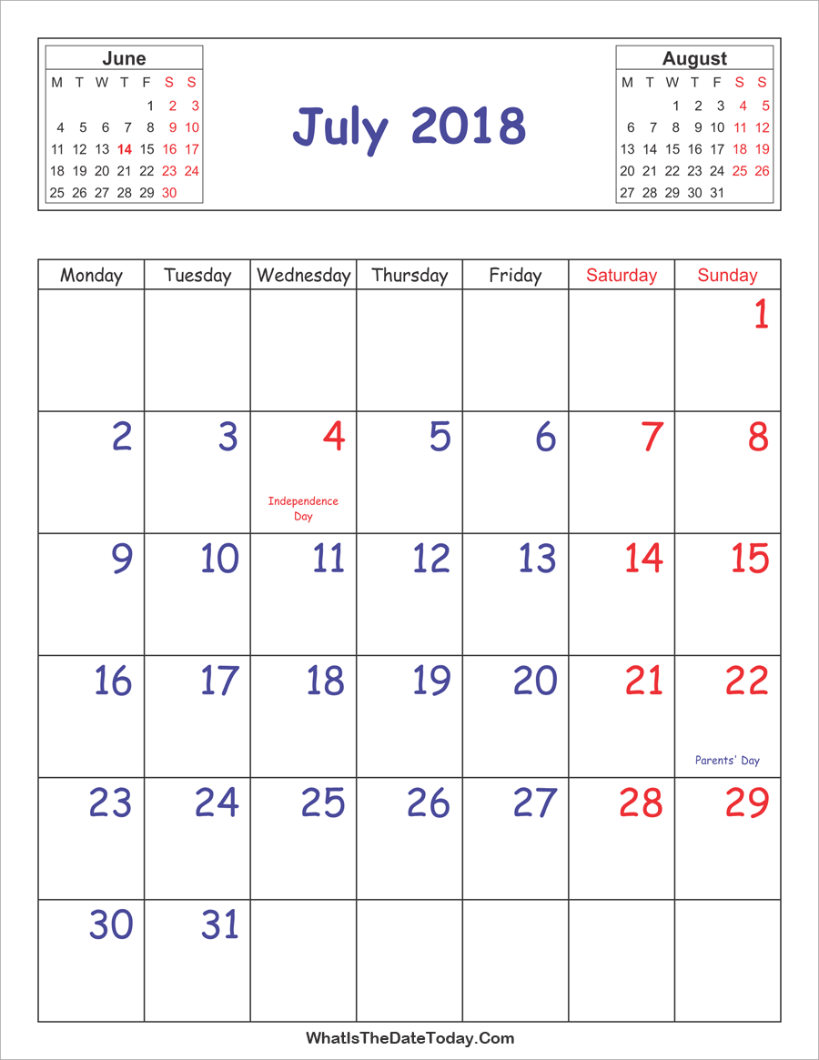 printable 2018 calendar july (vertical layout)