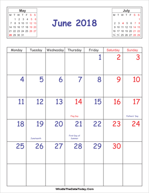 printable 2018 calendar june (vertical)