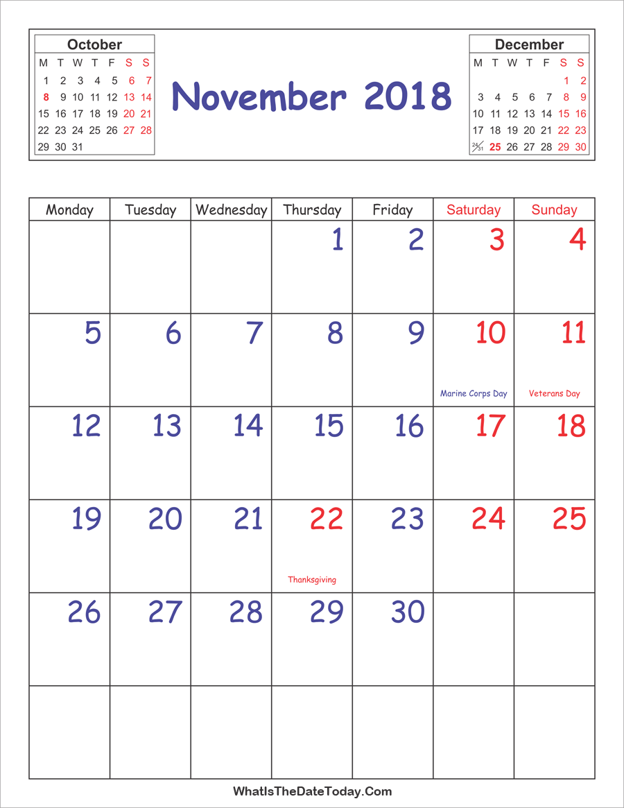 picture about Printable Nov Calendar referred to as Printable 2018 Calendar November (Vertical Style