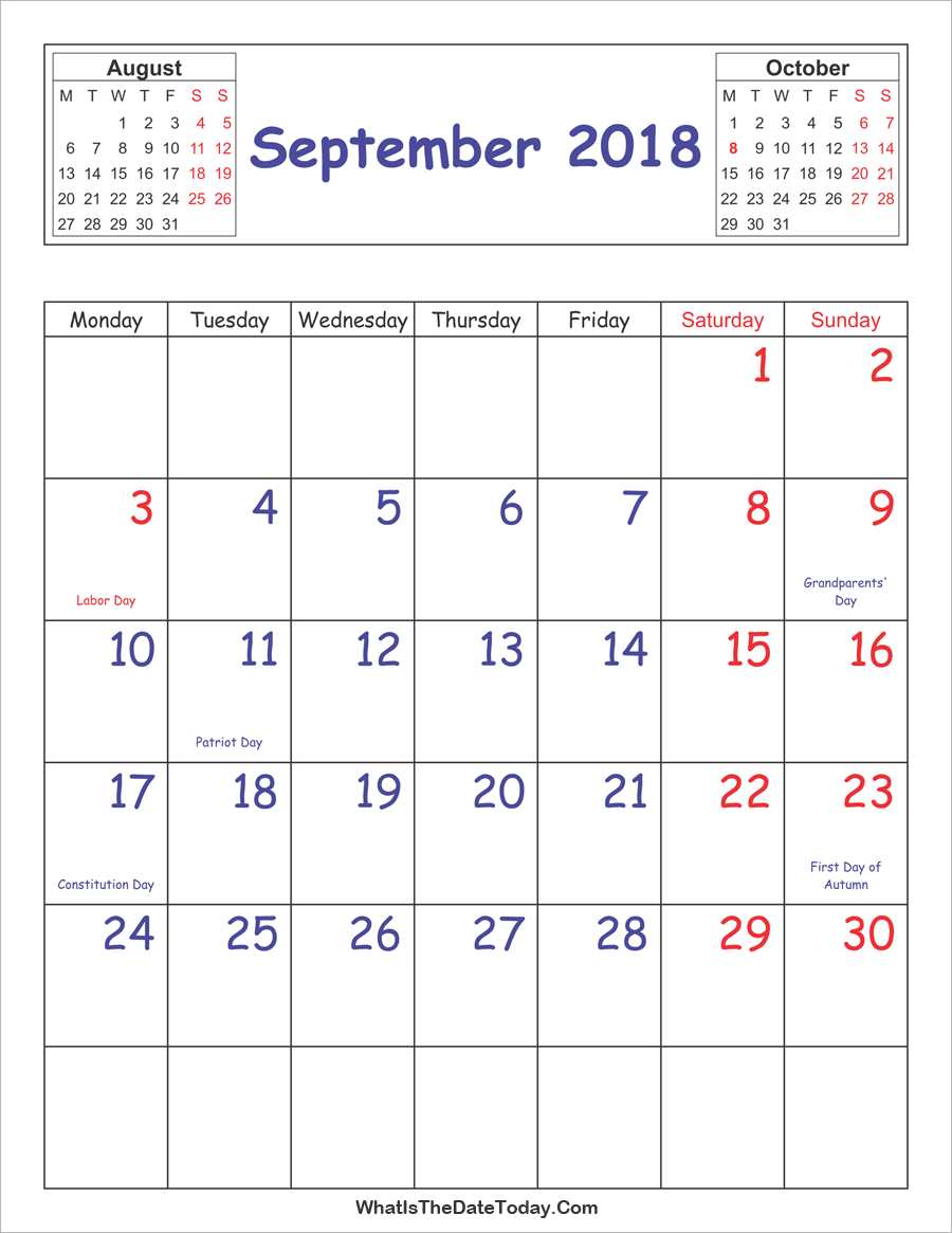 printable 2018 calendar september (vertical layout)
