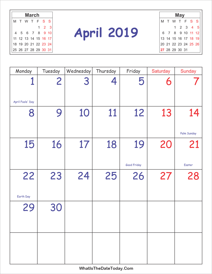 printable 2019 calendar april (vertical layout)