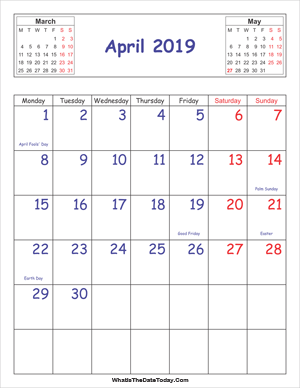printable 2019 calendar april (vertical)