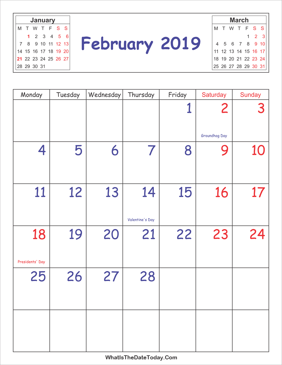 Vertical 2019 February Calendar Printable Printable 2019 Calendar February (Vertical Layout
