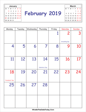 printable 2019 calendar february (vertical)