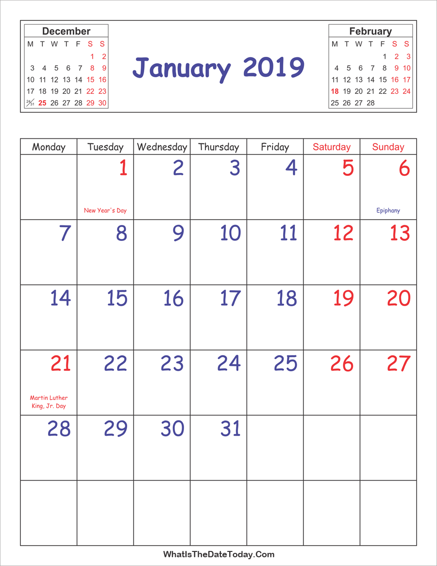 printable 2019 calendar january (vertical layout)