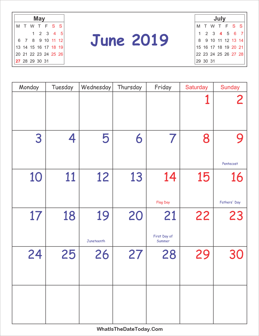 Printable 2019 Calendar June Vertical Layout Whatisthedatetoday Com