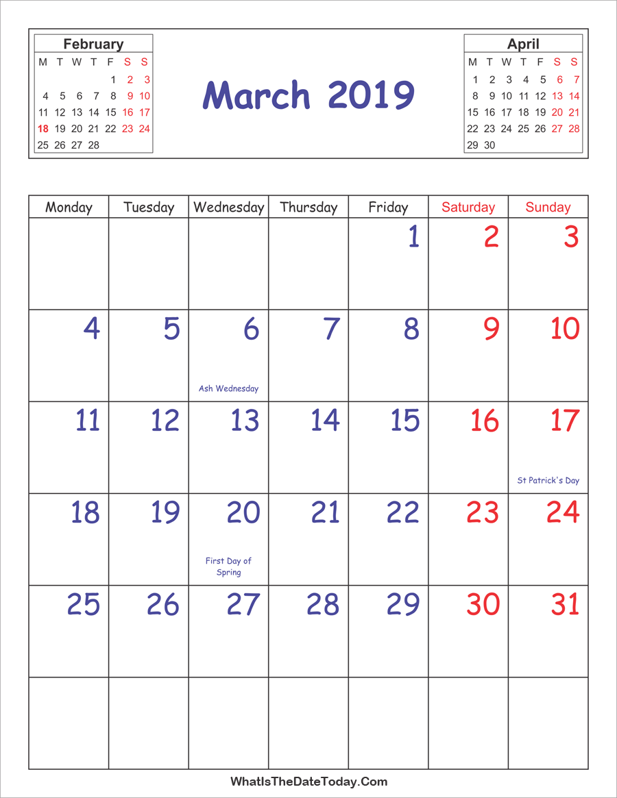 photo regarding Vertical Calendar Printable referred to as Printable 2019 Calendar March (Vertical Design
