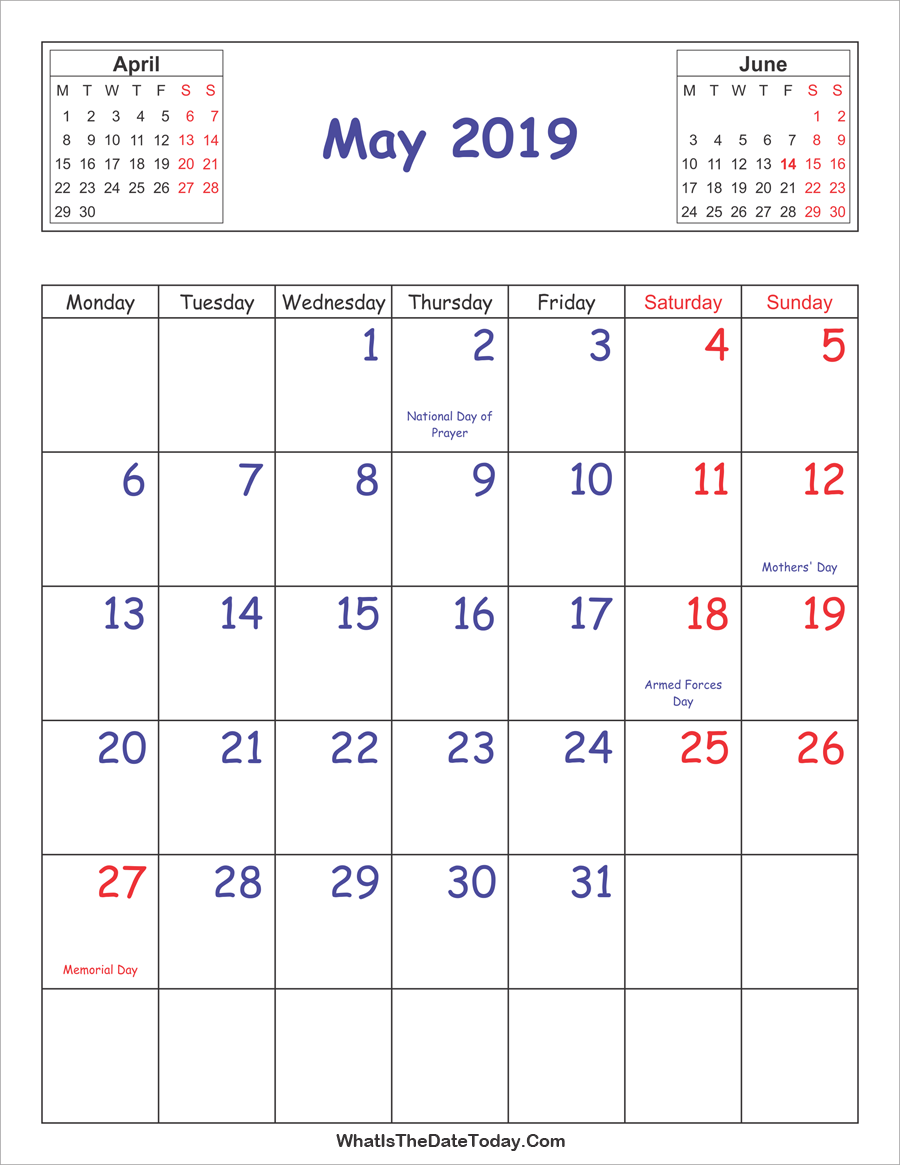 printable 2019 calendar may (vertical layout)