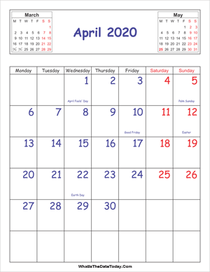 printable 2020 calendar april (vertical)