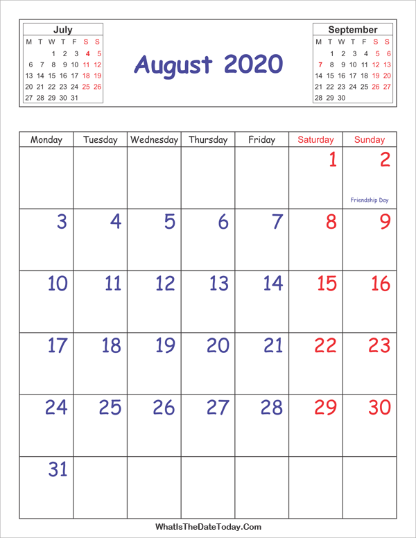 Printable 2020 Calendar August (Vertical Layout