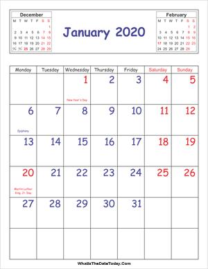 Printable Calendar January 2020 Vertical January 2020 Calendar Templates   Whatisthedatetoday.Com