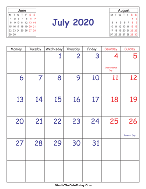 printable 2020 calendar july (vertical)