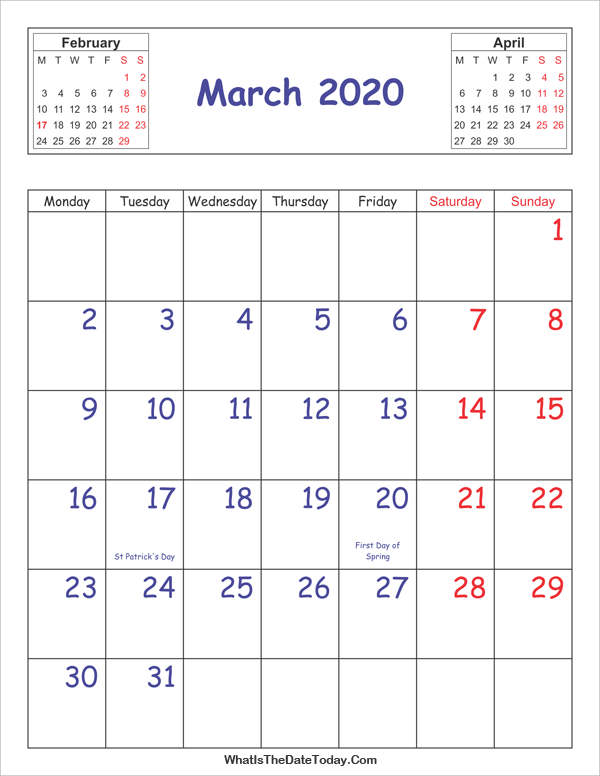 printable 2020 calendar march (vertical layout)