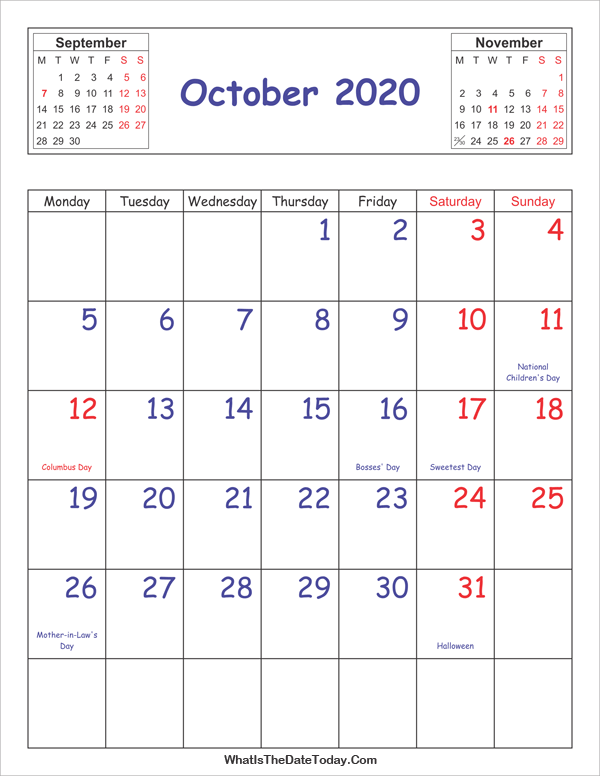 printable 2020 calendar october (vertical layout)