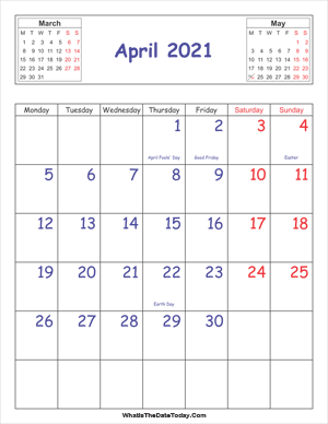 printable 2021 calendar april (vertical)