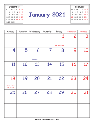 printable 2021 calendar january (vertical)