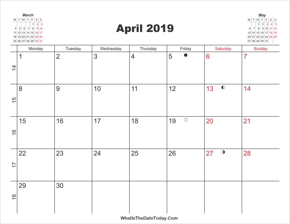 Printable Calendar April 2019 Whatisthedatetoday Com