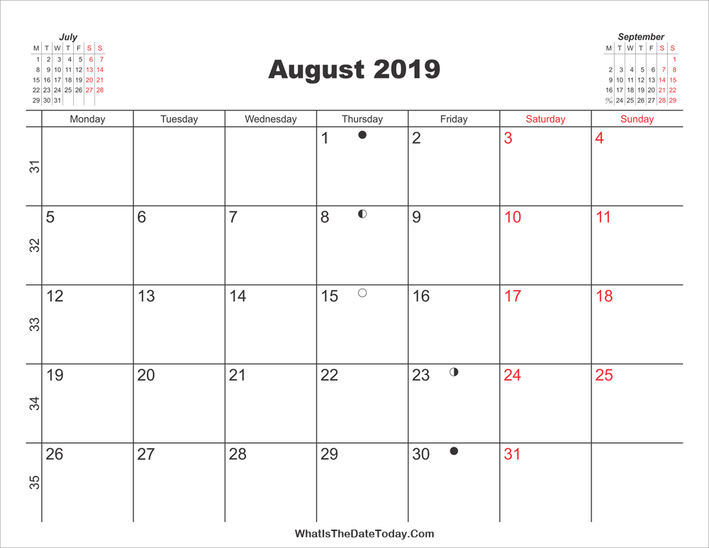 photo about August Printable Calendar titled Printable Calendar August 2019 Whatisthedatetoday.Com
