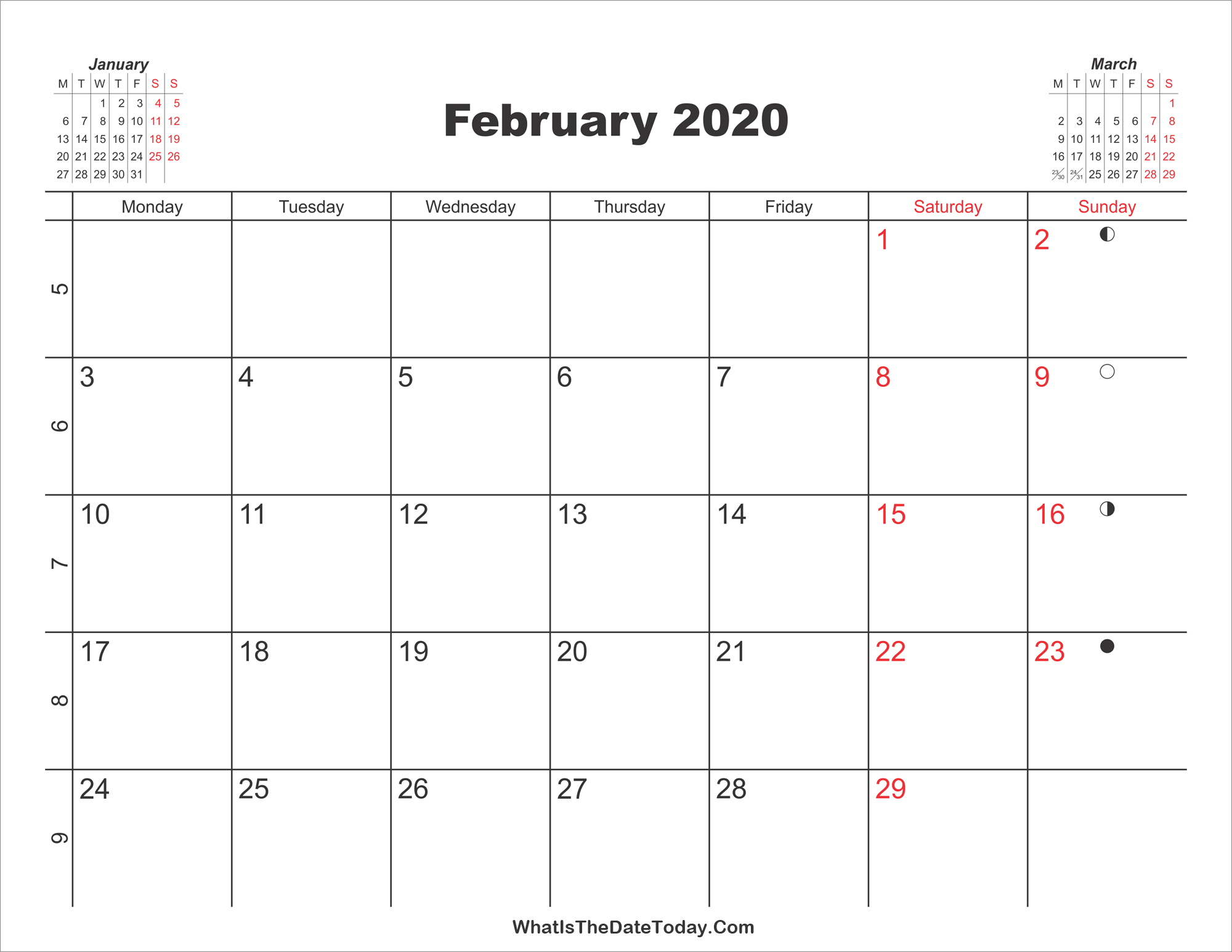 February 2020 Download Calendar Printable Calendar February 2020 | Whatisthedatetoday.Com